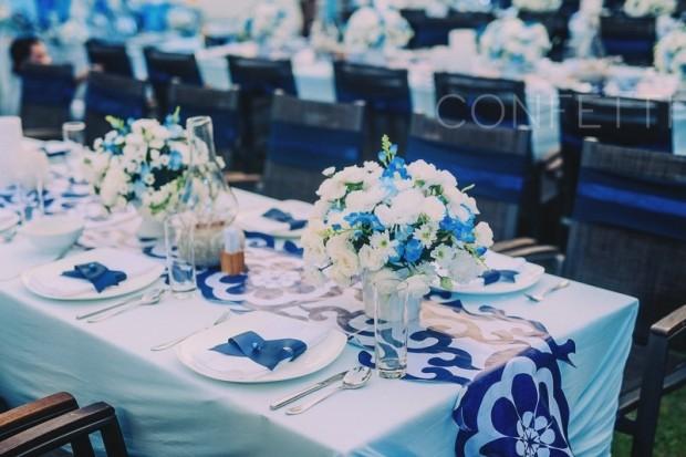 bao gia trang tri tiec cuoi 620x413 Mang nét tinh tế vào trang trí tiệc cưới với màu xanh gốm sứ
