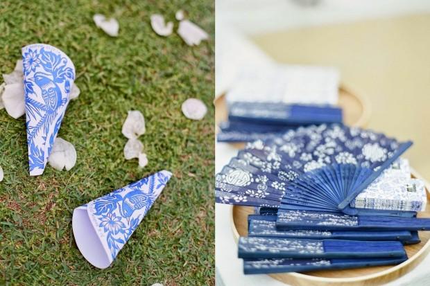 qua cuoi cho khach moi 620x413 Mang nét tinh tế vào trang trí tiệc cưới với màu xanh gốm sứ