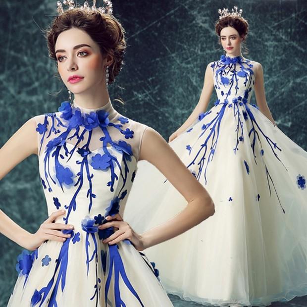 studio cho thue vay cuoi dep 620x620 Mang nét tinh tế vào trang trí tiệc cưới với màu xanh gốm sứ