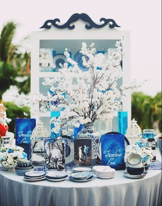 studio trang tri cuoi dep2 Mang nét tinh tế vào trang trí tiệc cưới với màu xanh gốm sứ