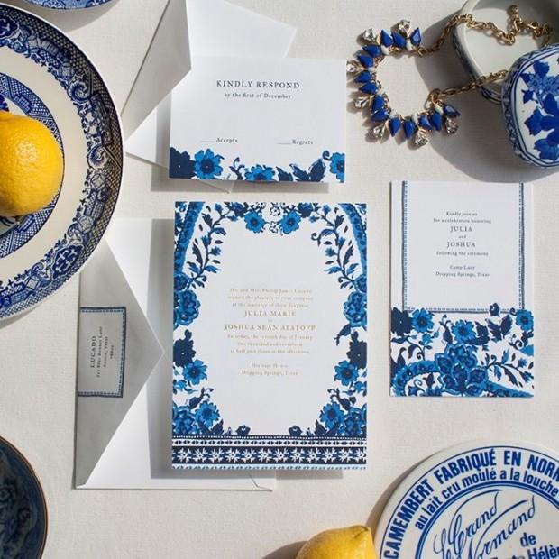 thiep cuoi dep 620x620 Mang nét tinh tế vào trang trí tiệc cưới với màu xanh gốm sứ